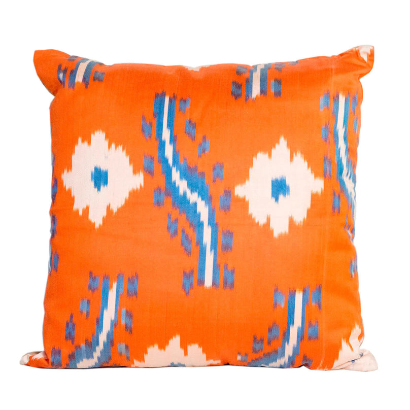 ikat caterpillar decorative pillow orange and blue