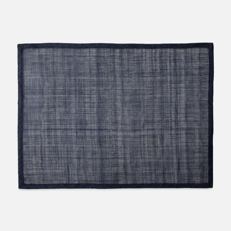 June, Dark Navy Placemat Rectangle, Abaca, Pack/4