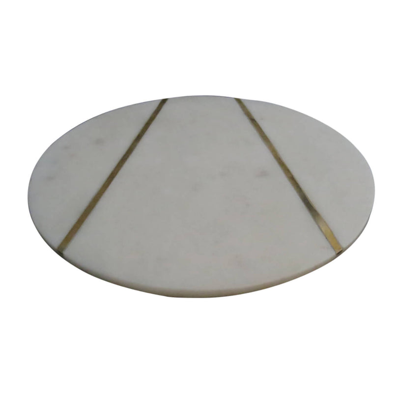 Marble Cheese Board with Brass Inlay