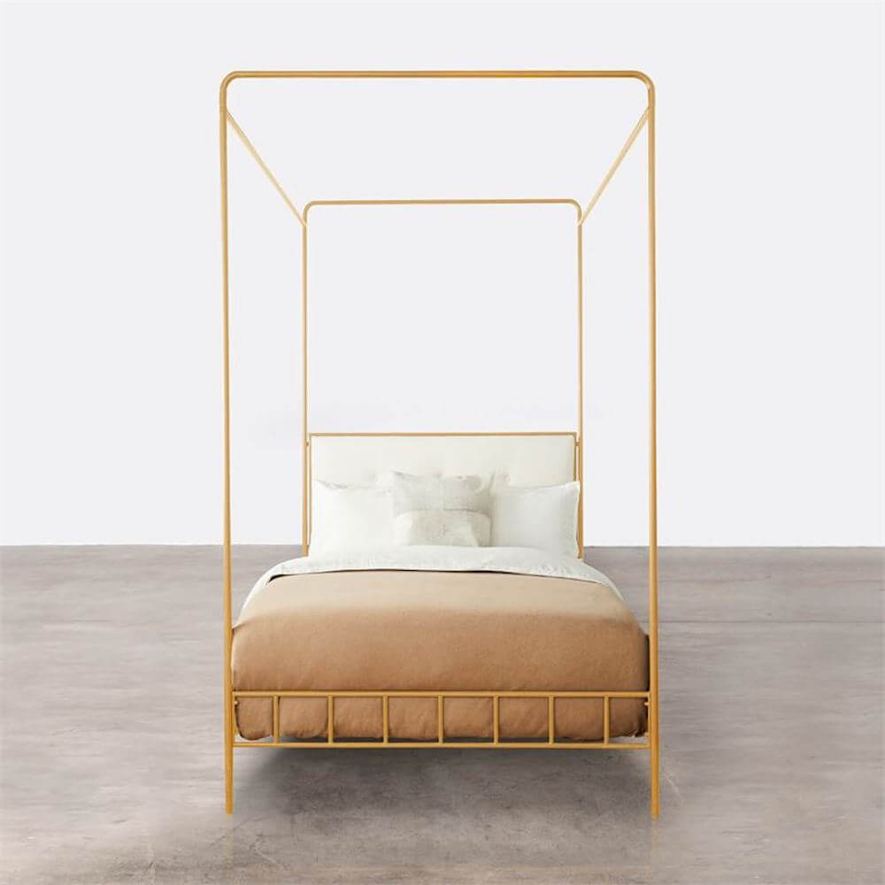 Marin Canopy Bed, Distressed Gold Leaf
