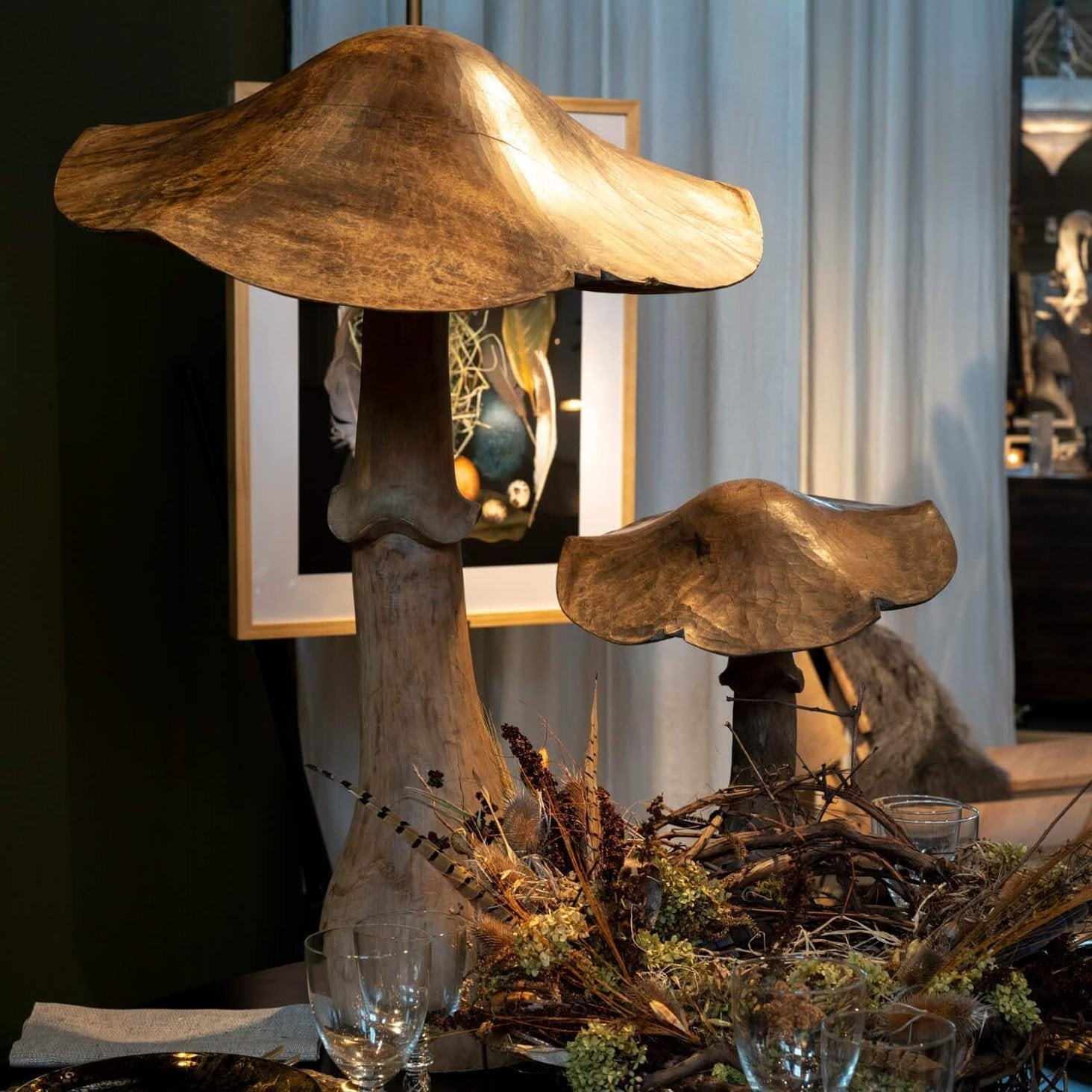 French Elmwood Handcarved Mushrooms