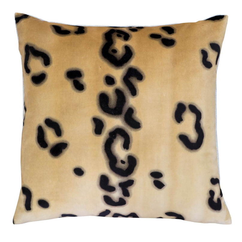 "20"" Ocelot Hand Painted Velvet Pillow - Molasses"