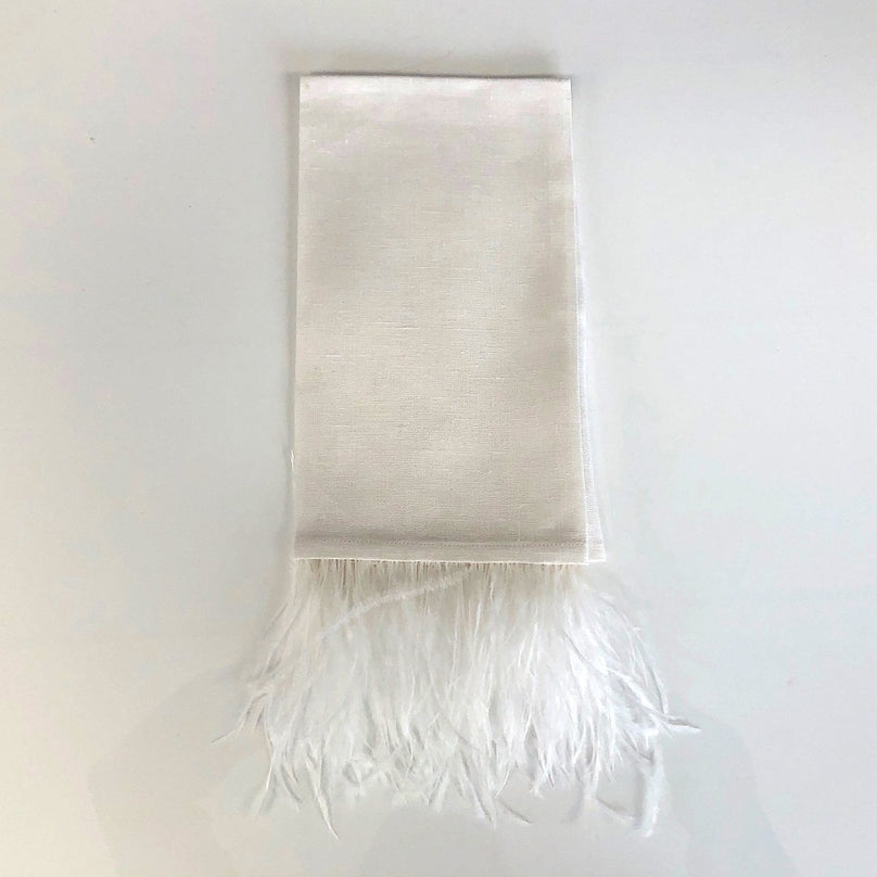 Ostrich Feather Guest Towel - White
