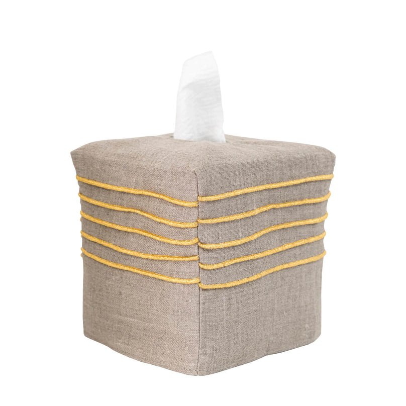 Metallic Pintuck Tissue Box Cover - Dark