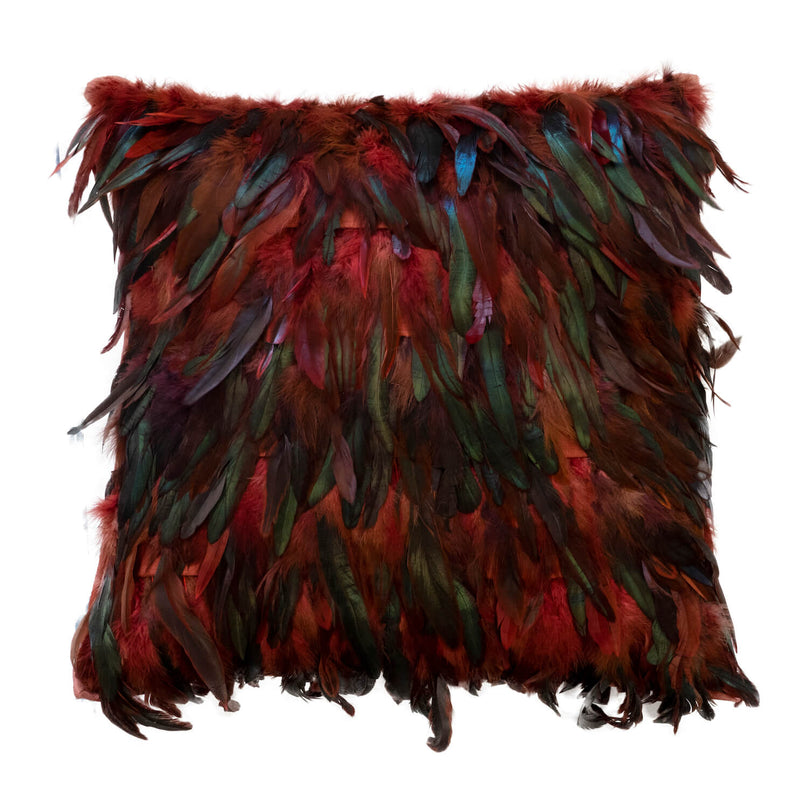 Plumage Pillow, Burgundy - 20""