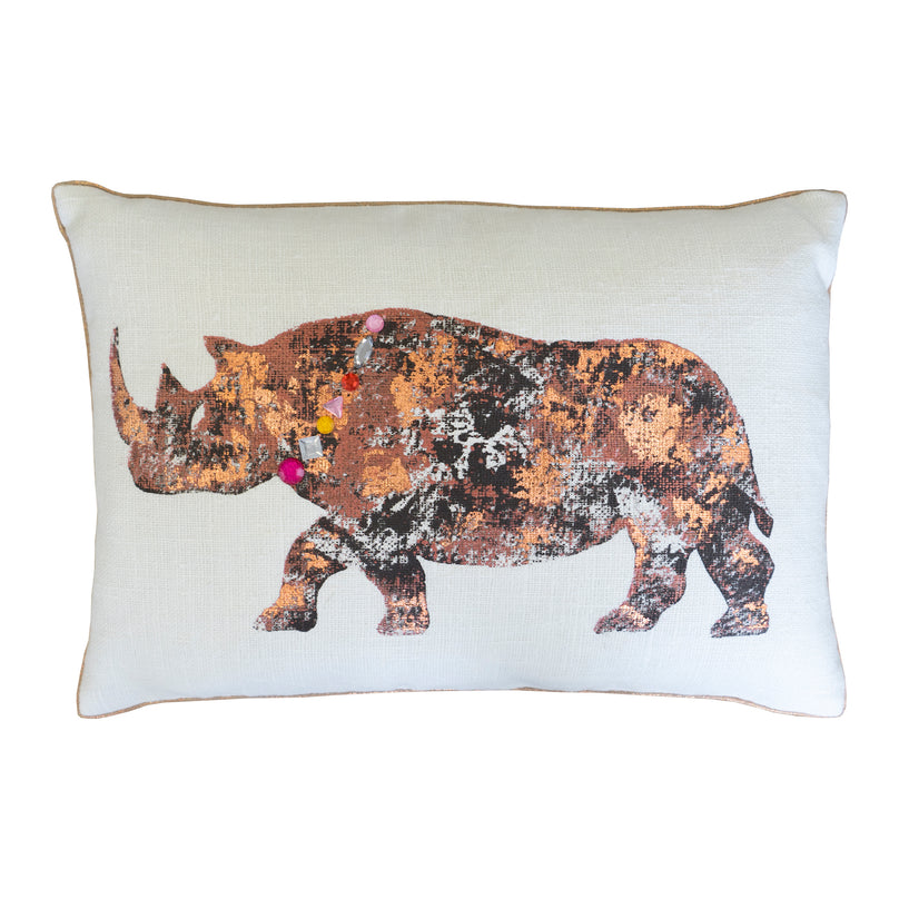 "14"" x 20"" Rhino Hand Painted Pillow - Copper"