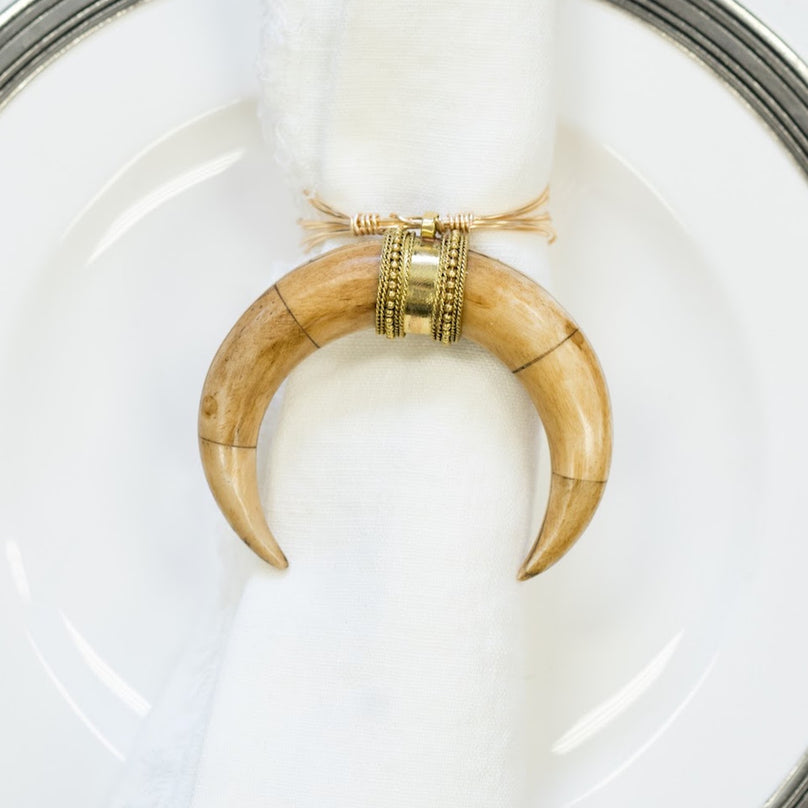 Tan Curve Horn Rings