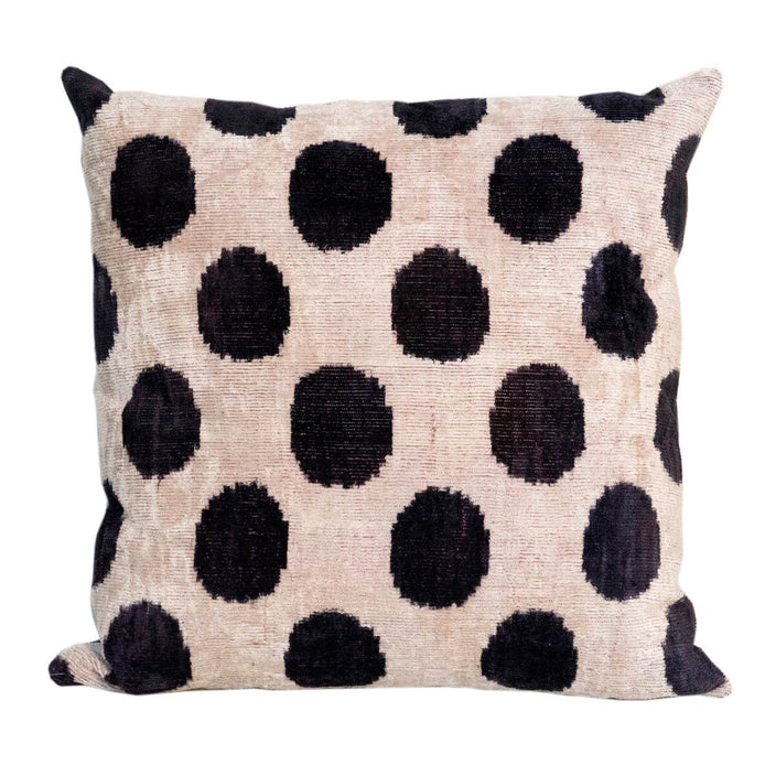 velvet black polka dot decorative pillow