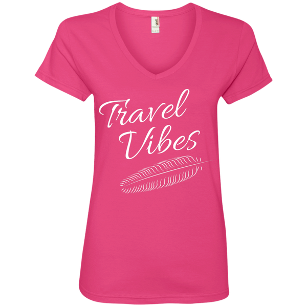 Travel Vibes Ladies' V-Neck T-Shirt - The Art Of Travel Store: Travel Accessories and Travel T-Shirts