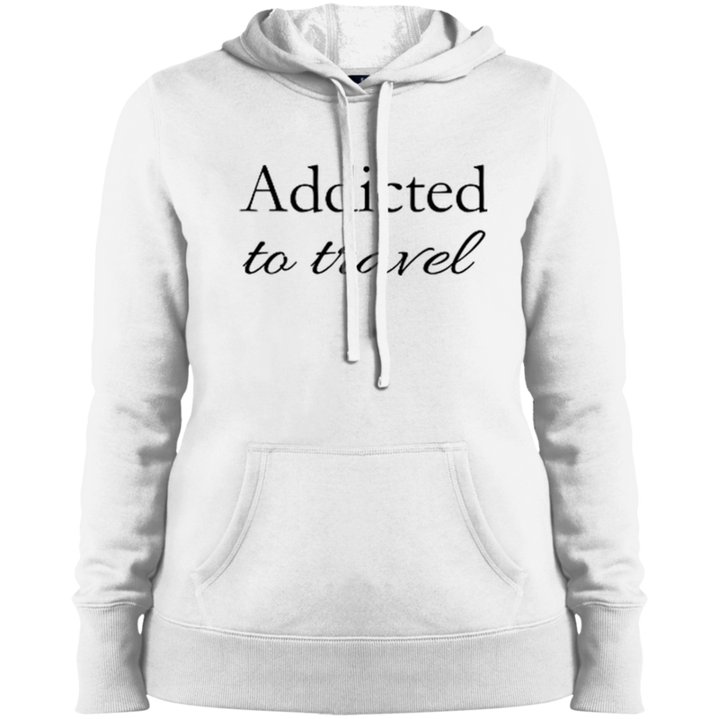 Addicted to Travel Ladies Hooded Pullover Sweatshirt - The Art Of Travel Store: Travel Accessories and Travel T-Shirts