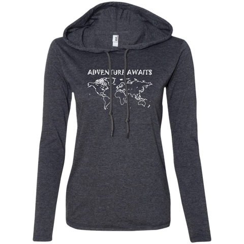 Adventure Awaits Ladies' T-Shirt Hoodie - The Art Of Travel Store: Travel Accessories, Travel Clothes, Travel Gear