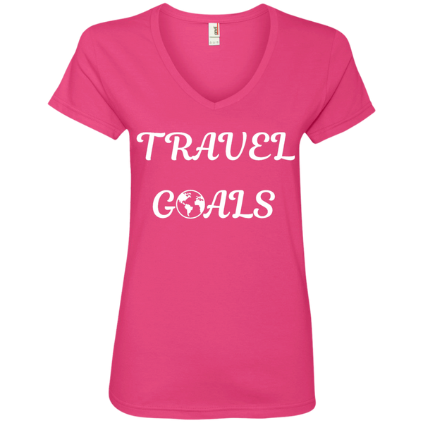 Travel Goals Ladies V Neck Premium Cotton Tee - The Art Of Travel Store: Travel Accessories and Travel T-Shirts