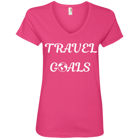 Travel Goals Ladies V Neck Premium Cotton Tee - The Art Of Travel Store: Travel Accessories, Travel Clothes, Travel Gear