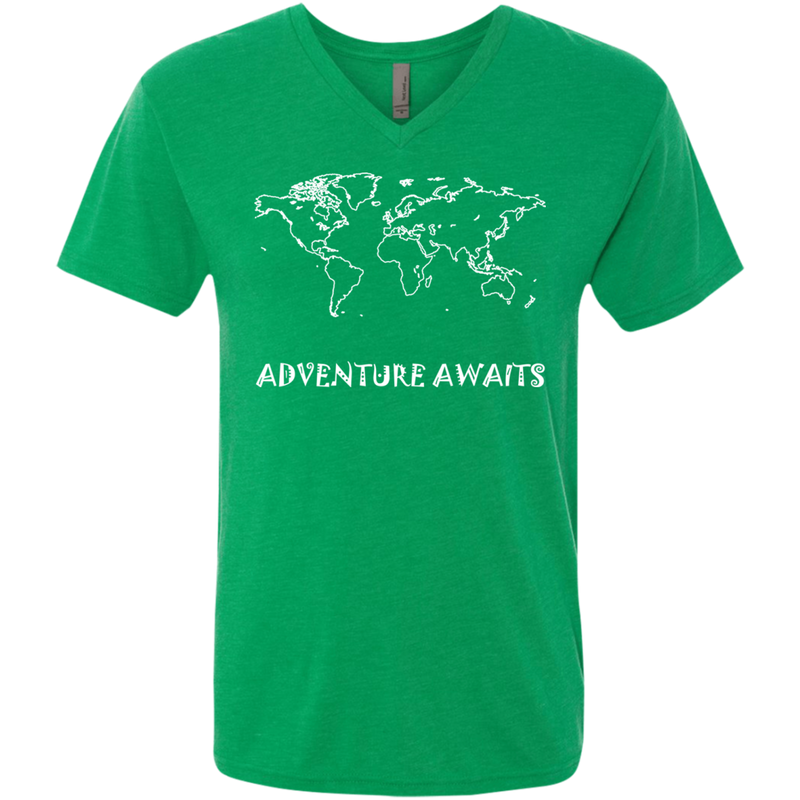 Adventure Awaits Men's Travel V-Neck T-Shirt - The Art Of Travel Store: Travel Accessories and Travel T-Shirts