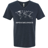 Adventure Awaits Men's Travel V-Neck T-Shirt - The Art Of Travel Store: Travel Accessories, Travel Clothes, Travel Gear