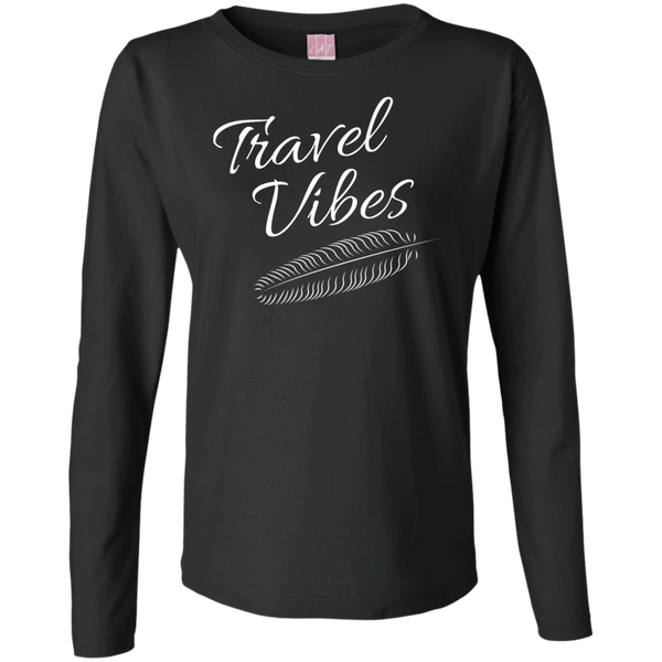 Travel Vibes Ladies Long Sleeve Cotton T-Shirt - The Art Of Travel Store: Travel Accessories and Travel T-Shirts