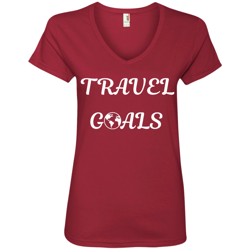 Travel Goals Ladies V Neck Premium Cotton Tee - The Art Of Travel Store: Travel Accessories, Travel Clothes, Travel T-Shirts