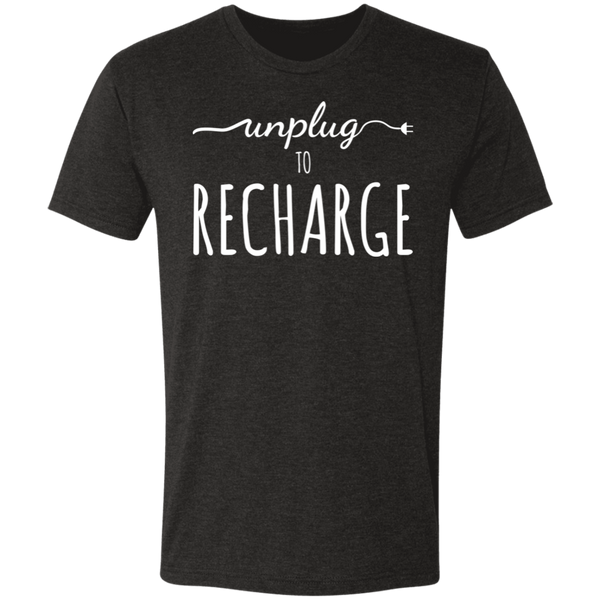 Unplug to Recharge Men's Triblend T-Shirt - The Art Of Travel Store: Travel Accessories and Travel T-Shirts