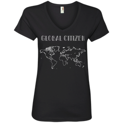 Global Citizen World Map Ladies' V-Neck Fitted T-Shirt - The Art Of Travel Store: Travel Accessories and Travel T-Shirts