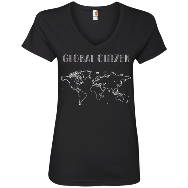 Global Citizen World Map Ladies' V-Neck Fitted T-Shirt - The Art Of Travel Store: Travel Accessories, Travel Clothes, Travel Gear