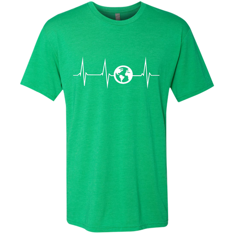 Heartbeat Globe Men's Travel T-Shirt - The Art Of Travel Store: Travel Accessories, Travel Clothes, Travel Gear