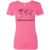 Adventure Awaits World Travel Ladies' Triblend Tee - The Art Of Travel Store: Travel Accessories, Travel Clothes, Travel Gear