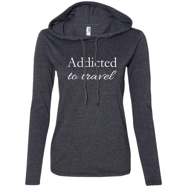 Addicted to Travel Ladies' T-Shirt Hoodie - The Art Of Travel Store: Travel Accessories and Travel T-Shirts