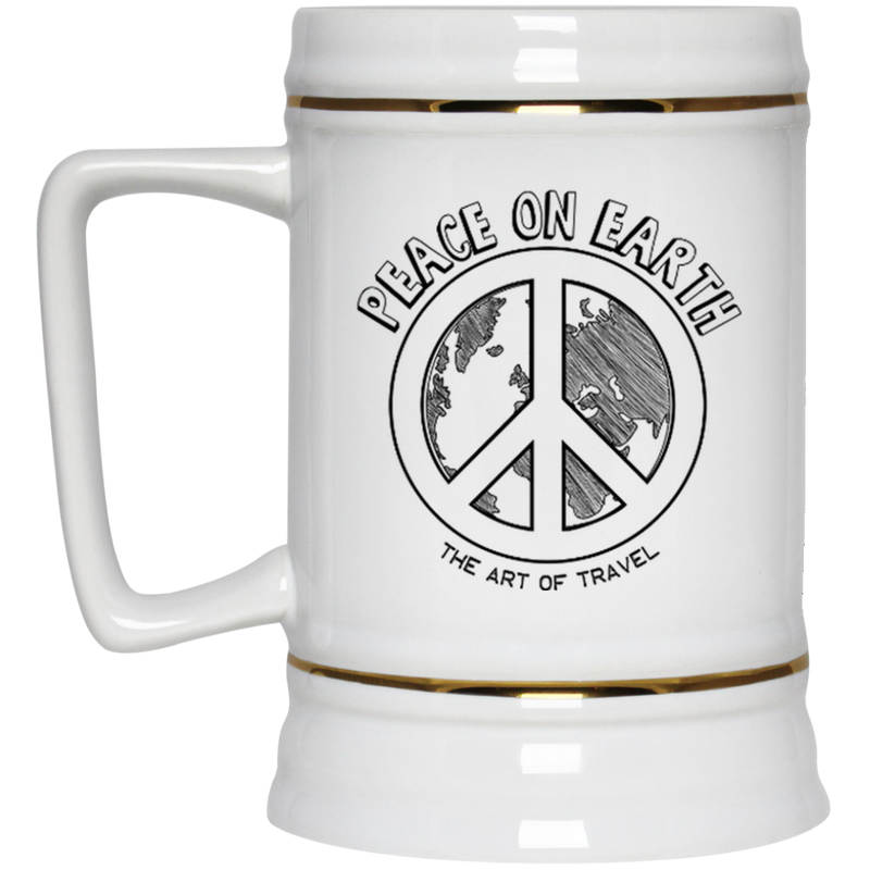 Peace on Earth: Art of Travel Large Beer Stein - The Art Of Travel Store: Travel Accessories, Travel Clothes, Travel T-Shirts