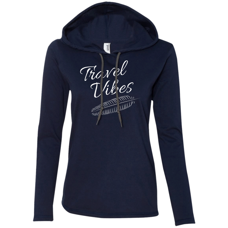 Travel Vibes Long Sleeve Hooded T-Shirt Hoodie - The Art Of Travel Store: Travel Accessories and Travel T-Shirts