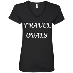 Travel Goals Ladies V Neck Premium Cotton Tee - The Art Of Travel