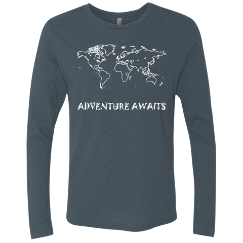 Adventure Awaits Men's Long Sleeve Travel T-Shirt - The Art Of Travel Store: Travel Accessories, Travel Clothes, Travel Gear