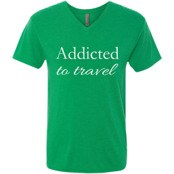 Addicted to Travel Men's V-Neck T-Shirt - The Art Of Travel Store: Travel Accessories and Travel T-Shirts