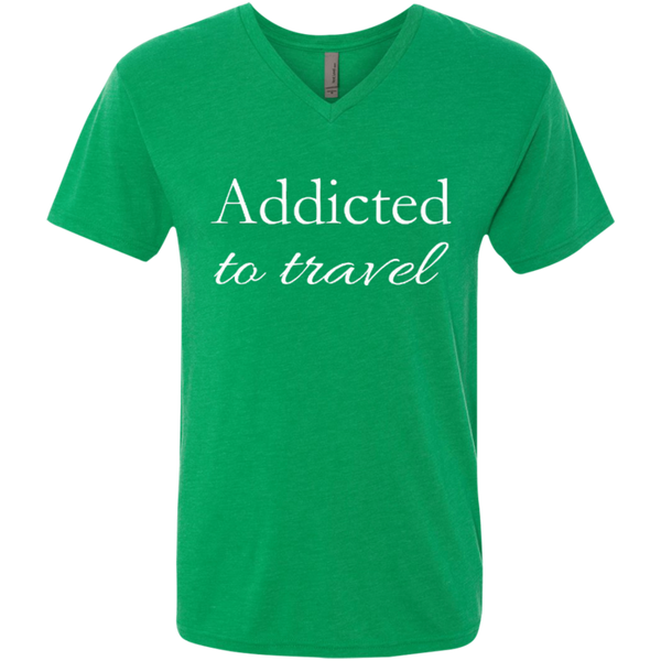 Addicted to Travel Men's V-Neck T-Shirt - The Art Of Travel