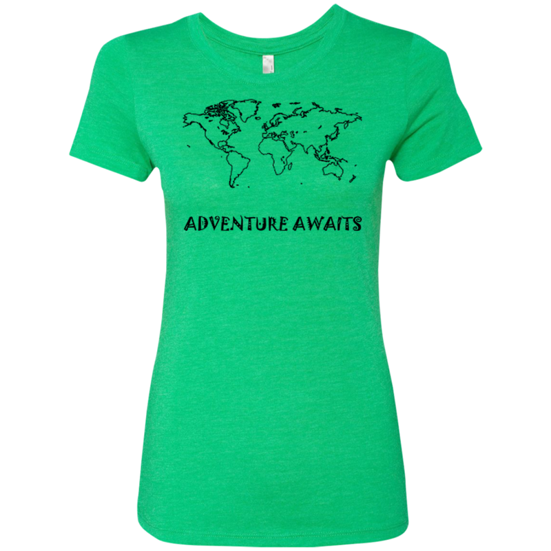 Adventure Awaits World Travel Ladies' Triblend Tee - The Art Of Travel Store: Travel Accessories and Travel T-Shirts