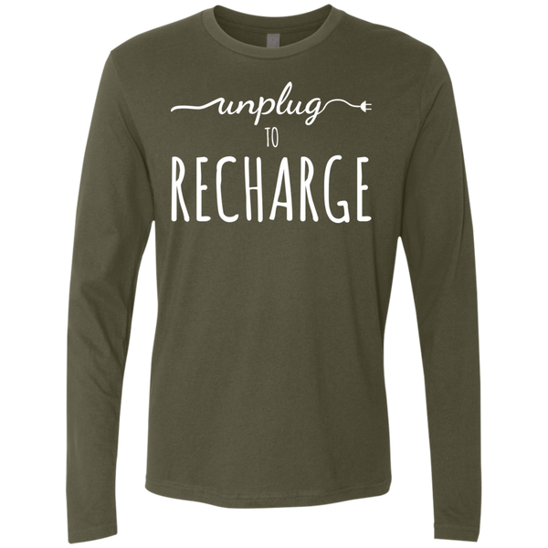 Unplug to Recharge Men's Long Sleeve Travel Tee - The Art Of Travel Store: Travel Accessories and Travel T-Shirts