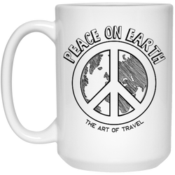 Peace on Earth 15oz Mug - The Art Of Travel Store: Travel Accessories, Travel Clothes, Travel T-Shirts