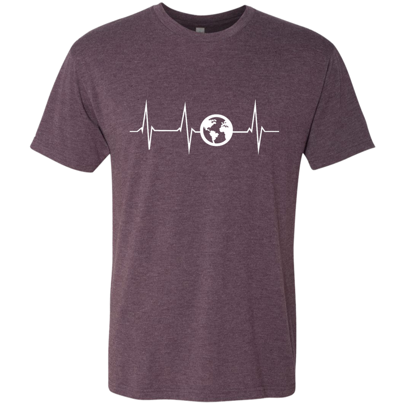 Heartbeat Globe Men's Travel T-Shirt - The Art Of Travel Store: Travel Accessories and Travel T-Shirts