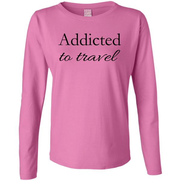 Addicted to Travel Women's Long Sleeve Cotton Tee - The Art Of Travel