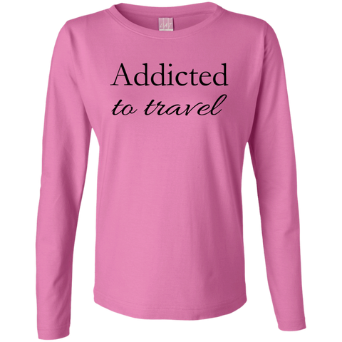 Addicted to Travel Women's Long Sleeve Cotton Tee - The Art Of Travel Store: Travel Accessories, Travel Clothes, Travel Gear