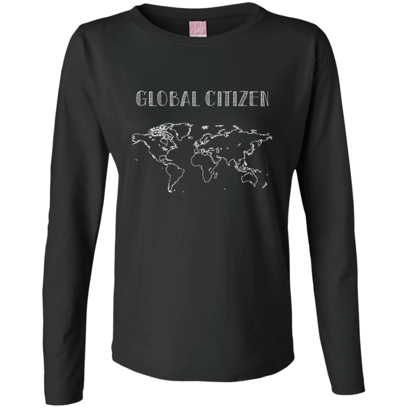 Global Citizen Women's Long Sleeve Cotton T-Shirt - The Art Of Travel Store: Travel Accessories and Travel T-Shirts
