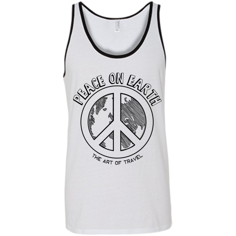 Peace on Earth Men's Cotton Summer Travel Tank - The Art Of Travel Store: Travel Accessories and Travel T-Shirts