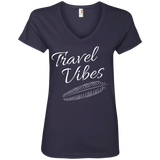 Travel Vibes Ladies' V-Neck T-Shirt - The Art Of Travel Store: Travel Accessories, Travel Clothes, Travel Gear