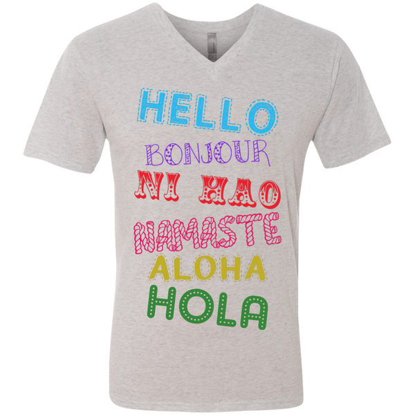 Hello Aloha Men's Travel V-Neck T-Shirt - The Art Of Travel Store: Travel Accessories and Travel T-Shirts