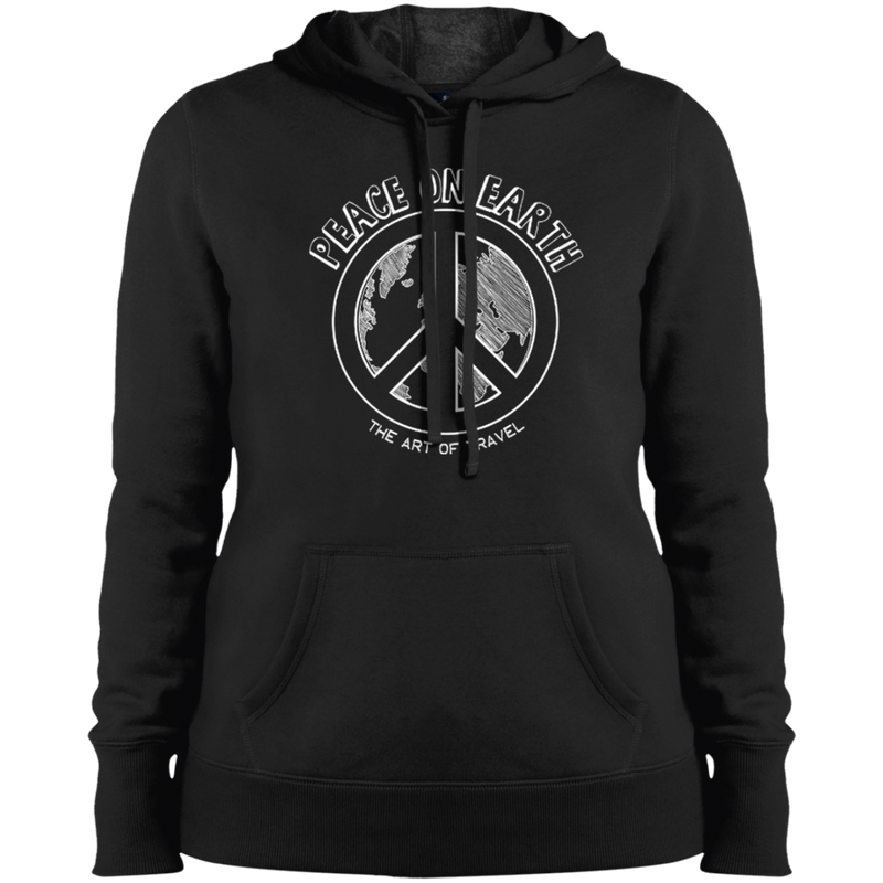 Peace on Earth Ladies Pullover Hooded Sweatshirt - The Art Of Travel