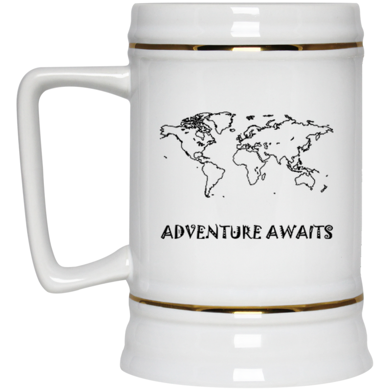 Adventure Awaits: World Travel Large Beer Stein - The Art Of Travel Store: Travel Accessories and Travel T-Shirts