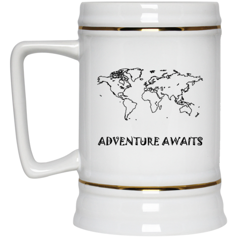 Adventure Awaits: World Travel Large Beer Stein - The Art Of Travel Store: Travel Accessories, Travel Clothes, Travel Gear