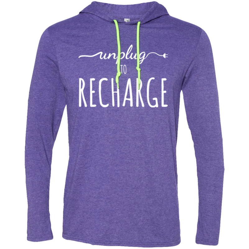 Unplug to Recharge Men's Travel T-Shirt Hoodie - The Art Of Travel Store: Travel Accessories and Travel T-Shirts