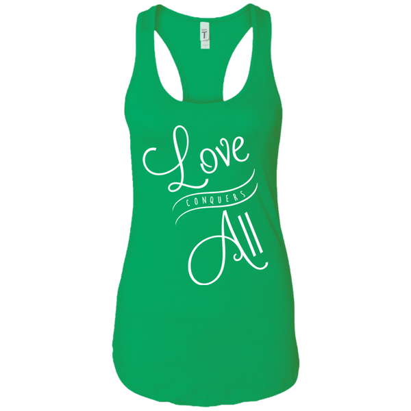 Love Conquers All Ladies Racerback Tank - The Art Of Travel Store: Travel Accessories and Travel T-Shirts