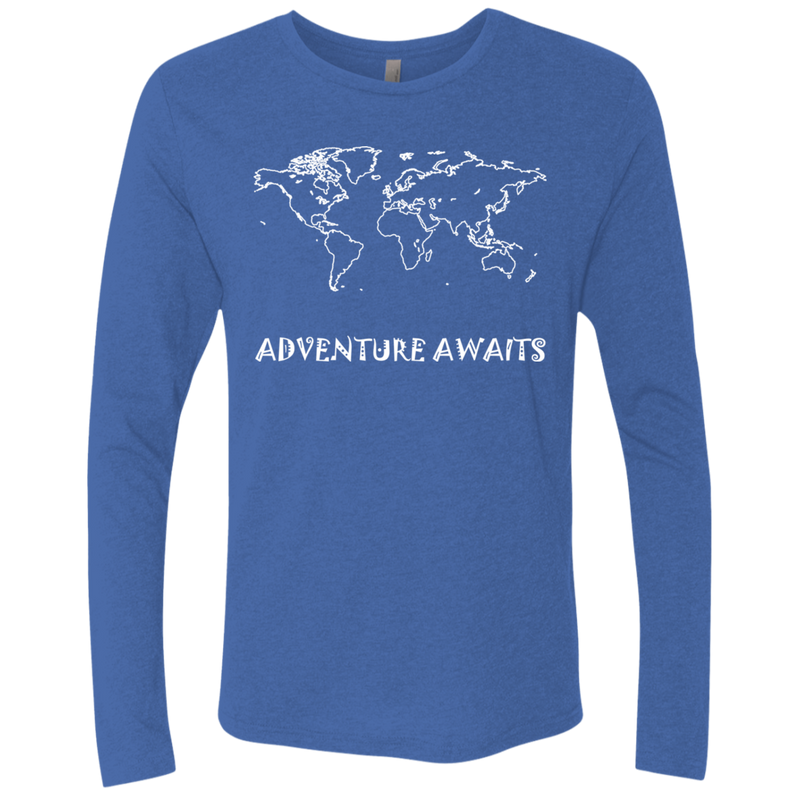 Adventure Awaits Men's Long Sleeve Travel T-Shirt - The Art Of Travel Store: Travel Accessories and Travel T-Shirts