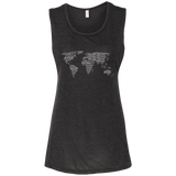 Art of Travel World Map Ladies' Beach Muscle Tank - The Art Of Travel Store: Travel Accessories, Travel Clothes, Travel Gear